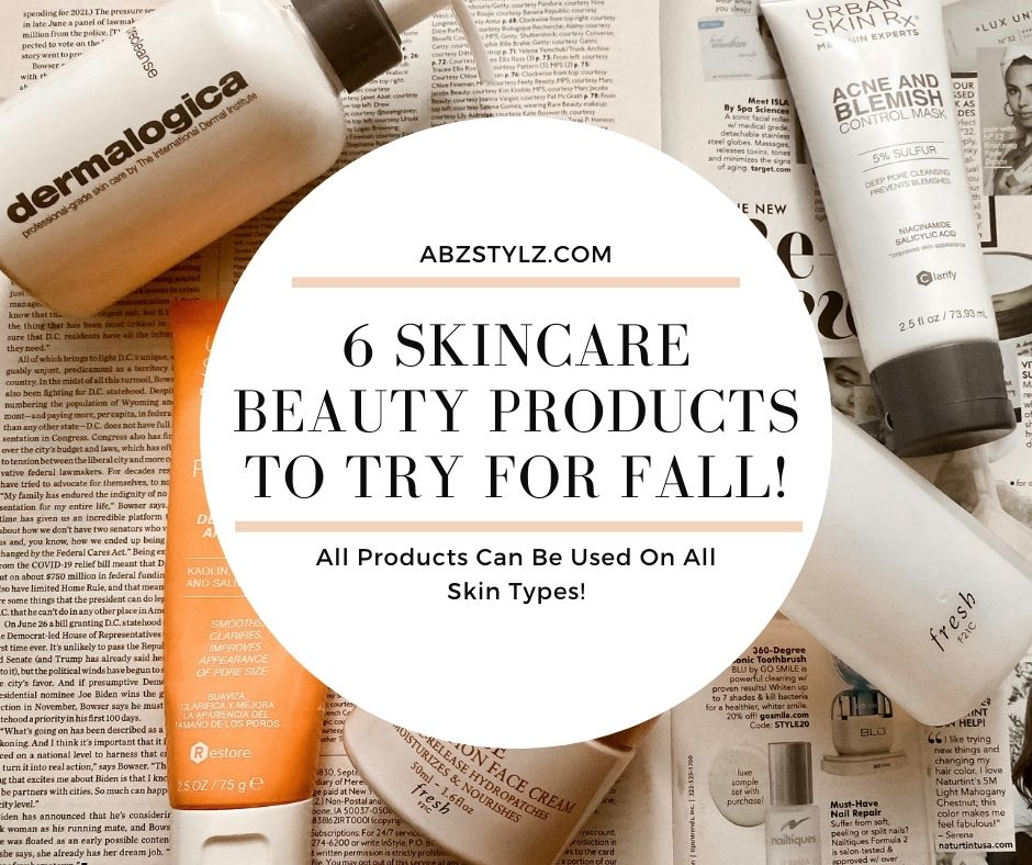 Skincare beauty products for fall