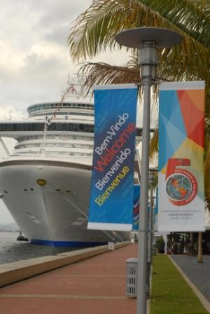 During the Fifth Summit of the Americas in Trinidad, Landry & Kling chartered 2 cruise ships for supplemental housing adjacent to the Hyatt Hotel. | Landry & Kling Dockside Charters