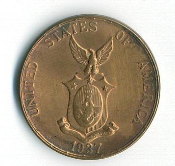 Philippines Coin 1937 One Centavo Reverse