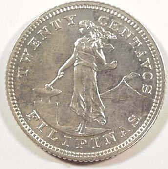 Philippines Coin 1903 Twenty Centavos Obverse