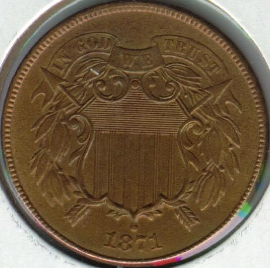 American Two Cent Coin Obverse