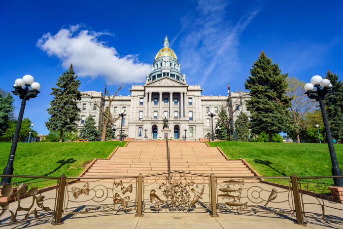Sunny afternoon view of the historical Colorado State Capitol.