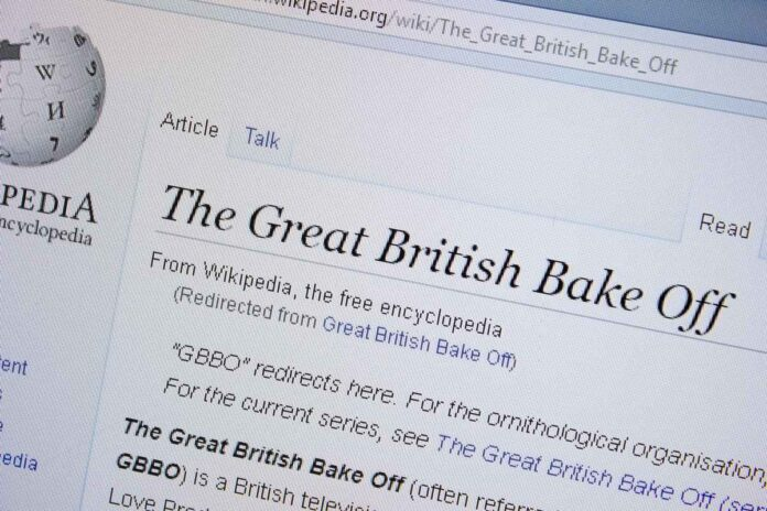 Screenshot of Wikipedia page for Great British Bake Off TV show.