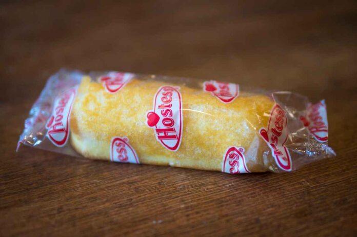 Hostess Twinkie sponge cake in a clear cellophane wrapper.