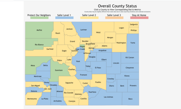 Map of Colorado counties color-coded as to COVID status.