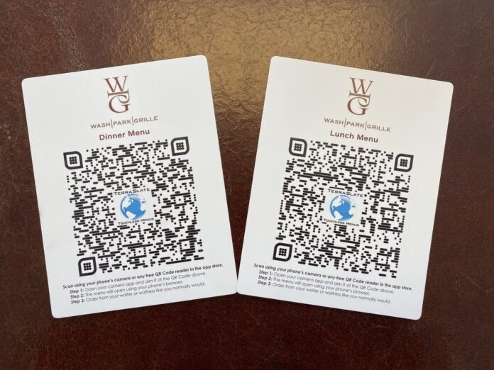 Image of two cards with QR codes. One is labeled