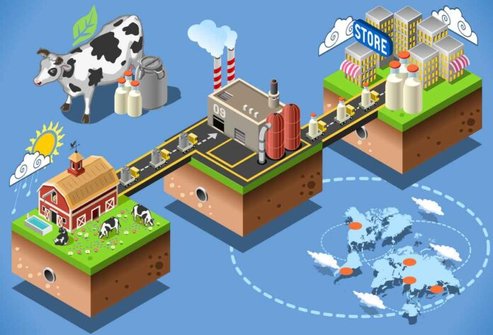Illustration depicting supply chain of milk from farm to pasteurization plant to store.