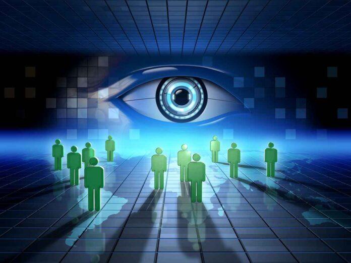 Illustration giant eye overseeing people's digital activity