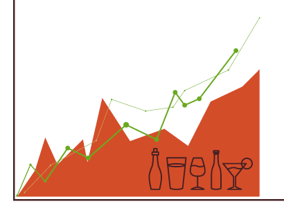 Illustration of three graph lines trending upwards with various bottles and glasses.