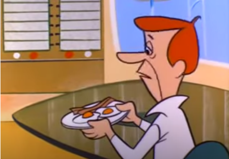 Animated still of futuristic George Jetson holding a plate of bacon and eggs.