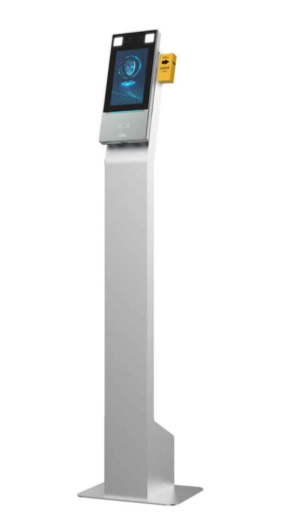 A tall, narrow, silver stand with electronic screen mounted on top.