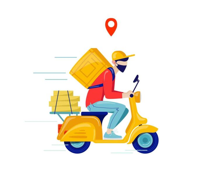 Illustration of courier in protective mask deliver goods and food on motorcycle.