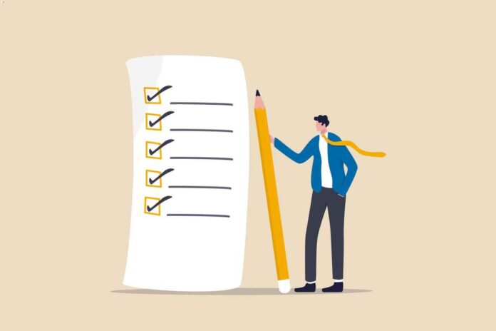 Illustration of confident businessman standing with pencil after completed all tasks on a checklist.