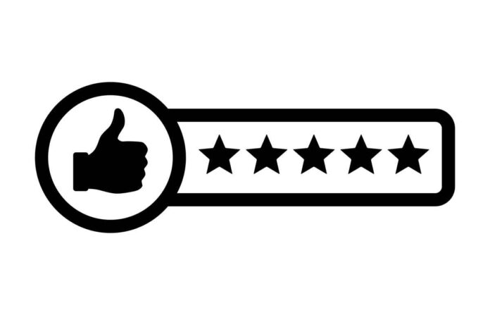 Black and white illustration of thumbs up gesture to the left of a row of five stars.