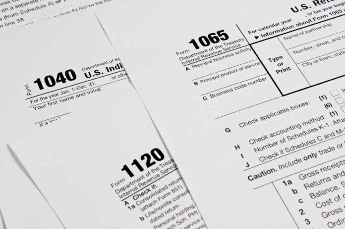 Three different U.S. tax forms
