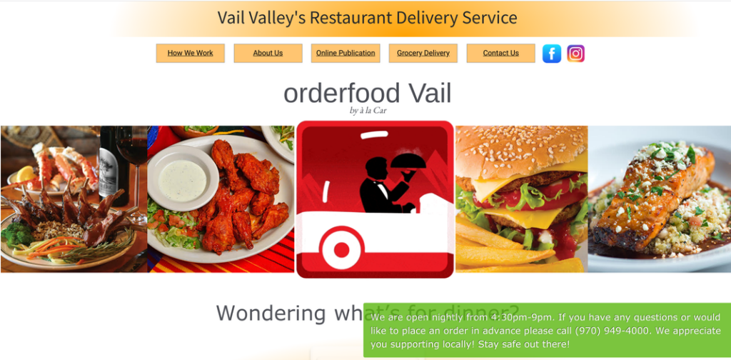 "Screenshot of a la Car website home page with text reading ""Vaily Valley's Restaurant Delivery Service"" and various food photos."
