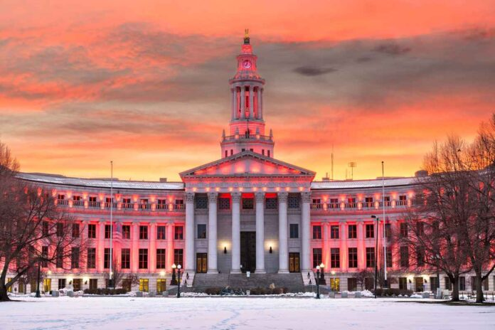 Denver city and county building at sunset in winter.