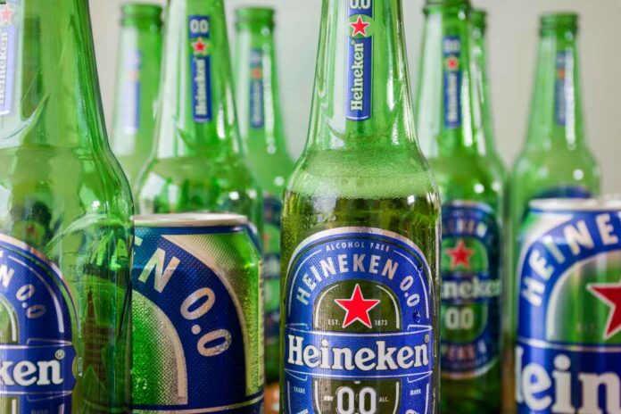 Bottles and cans of Heineken 0.0, a nonalcoholic beer.