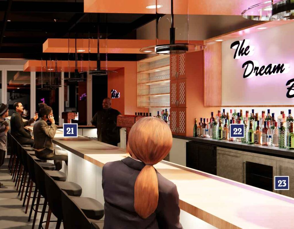 Digital rendering of interior of bar perfectly designed for efficiency.
