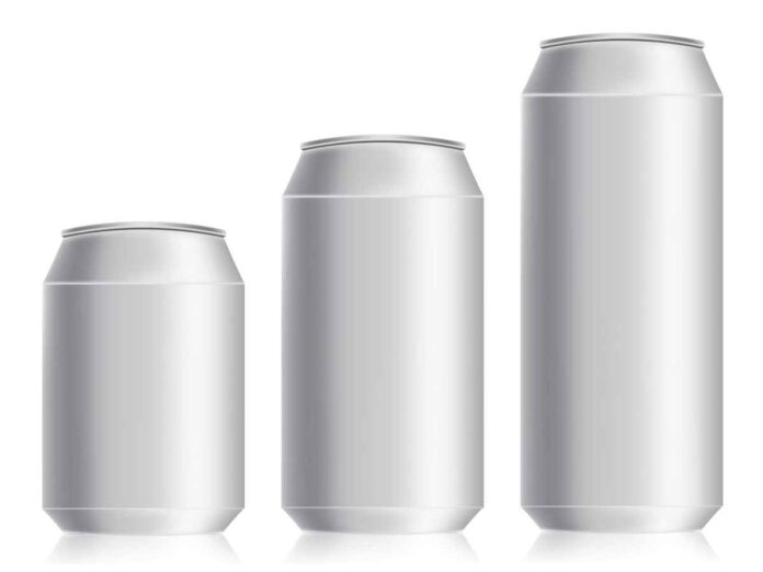 Illustration of three silver aluminum beverage cans increasing in size.