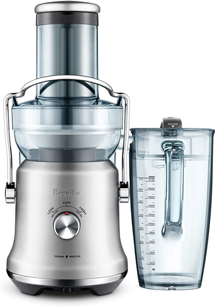 Chrome and silver electric citrus juicer.
