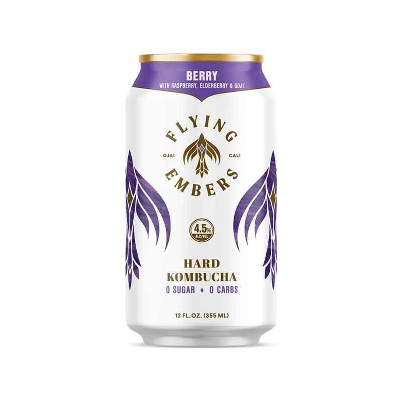 Purple and white can of Flying Embers hard kombucha.