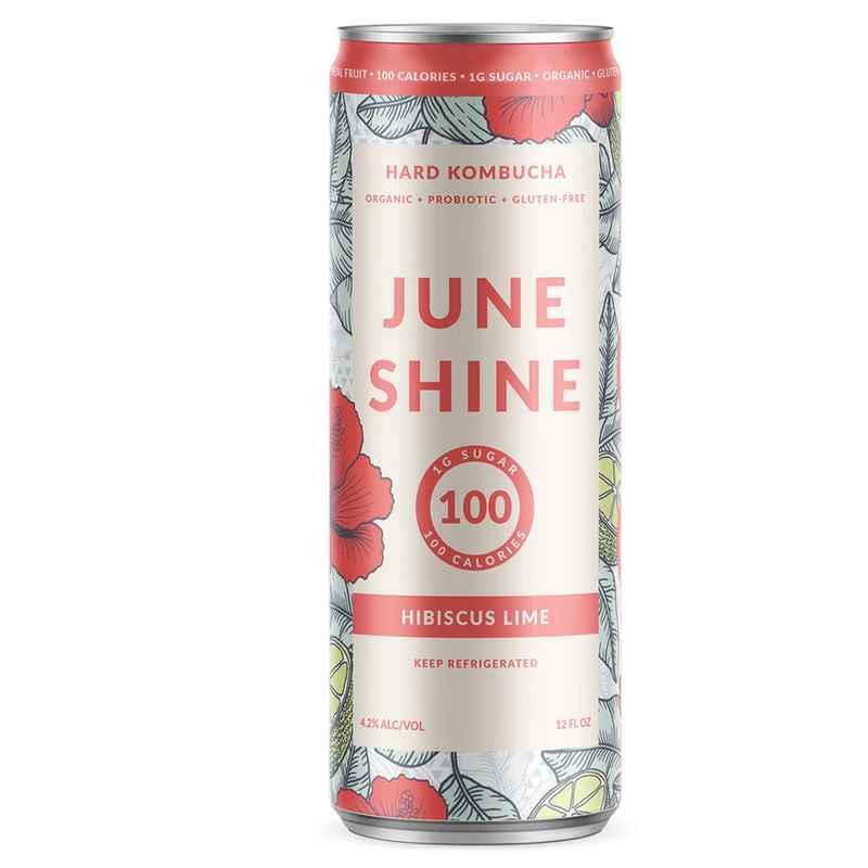 Pink and silver can of JuneShine hard kombucha.