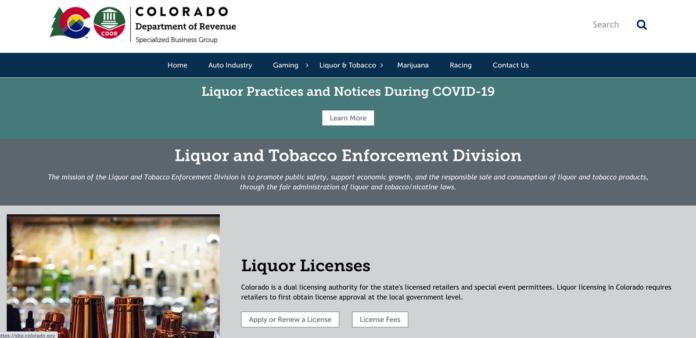 screenshot of Colorado's Liquor Enforcement Board homepage.