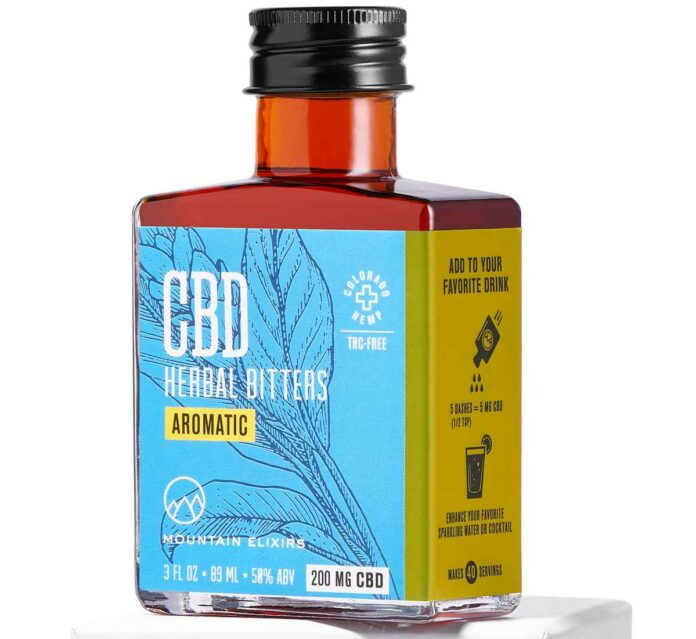 Rectangular amber bottle with blue label of CBD herbal aromatic bitters