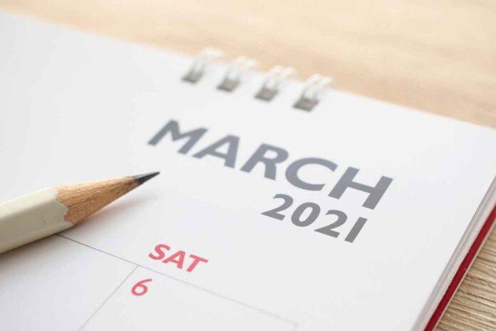 Close up of calendar heading reading,