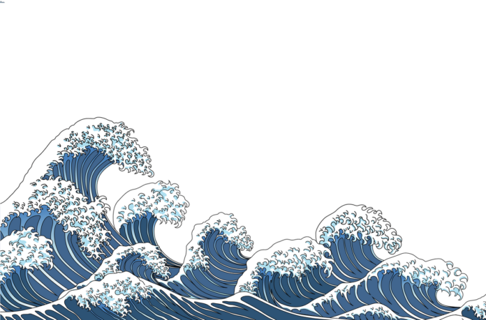Japanese woodblock-style illustration of dark blue and white waves.