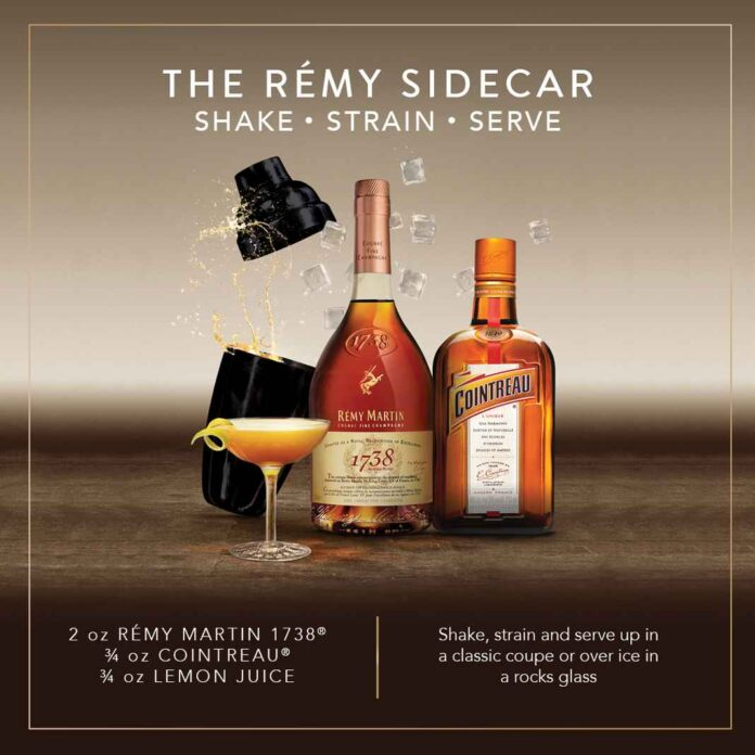 Ad showing bottles of Rémy Martin and Cointreau next to a shaker tin and a cocktail garnished with lemon. Recipe for The Rémy Sidecar.