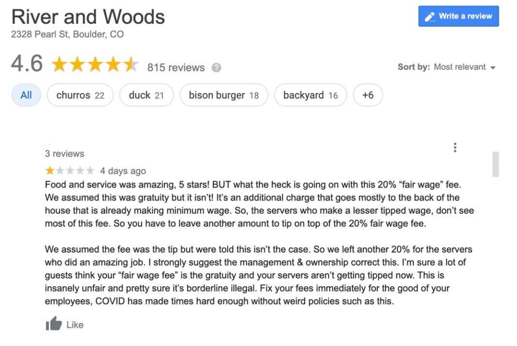 """Screenshot of one-star yelp review of River & Woods. """"What is going on with this 20% 'fair wage' fee. We assumed this was gratuity but it isn't. It's an additional charge that goes mostly to the back of the house that is already making minimum wage."""""""