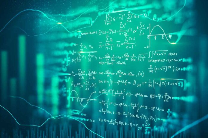 Illustration of mathematical formulas over blurry green background.