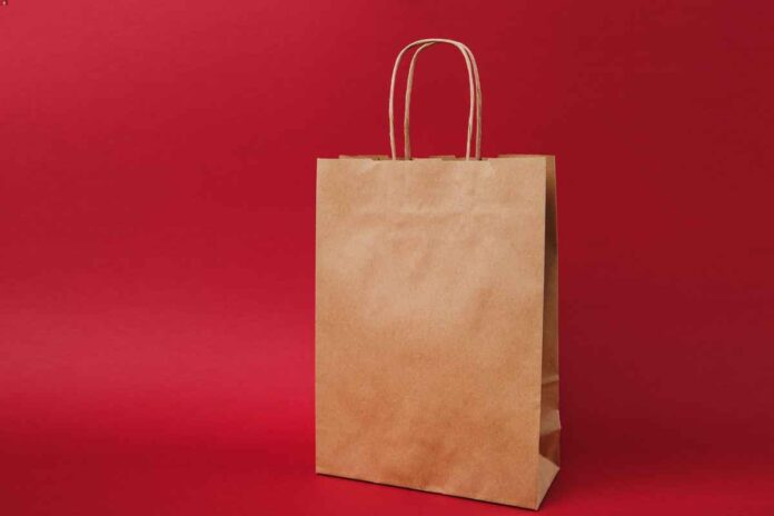 Brown paper bag with handles on bright red background.