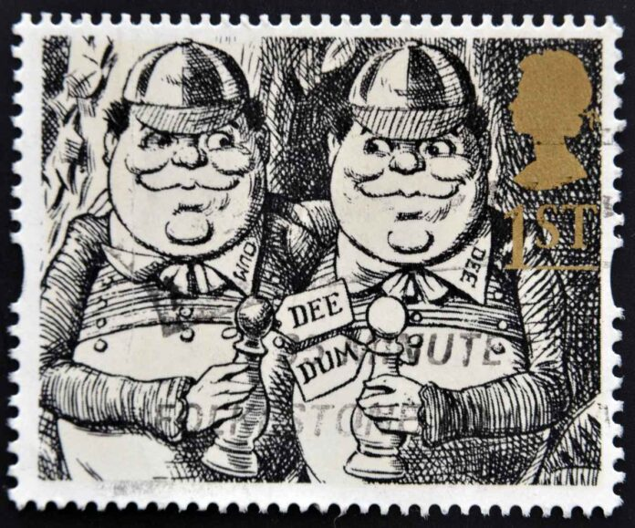 A stamp printed in Great Britain shows Tweedledum and Tweedledee Alice Through the Looking-Glass , circa 1993