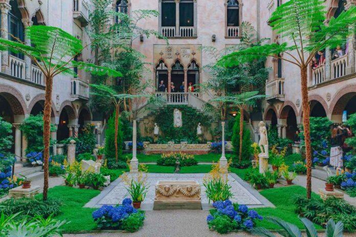 Interior view of the inner courtyard and garden of Isabella Stewart Gardner Museum in Boston