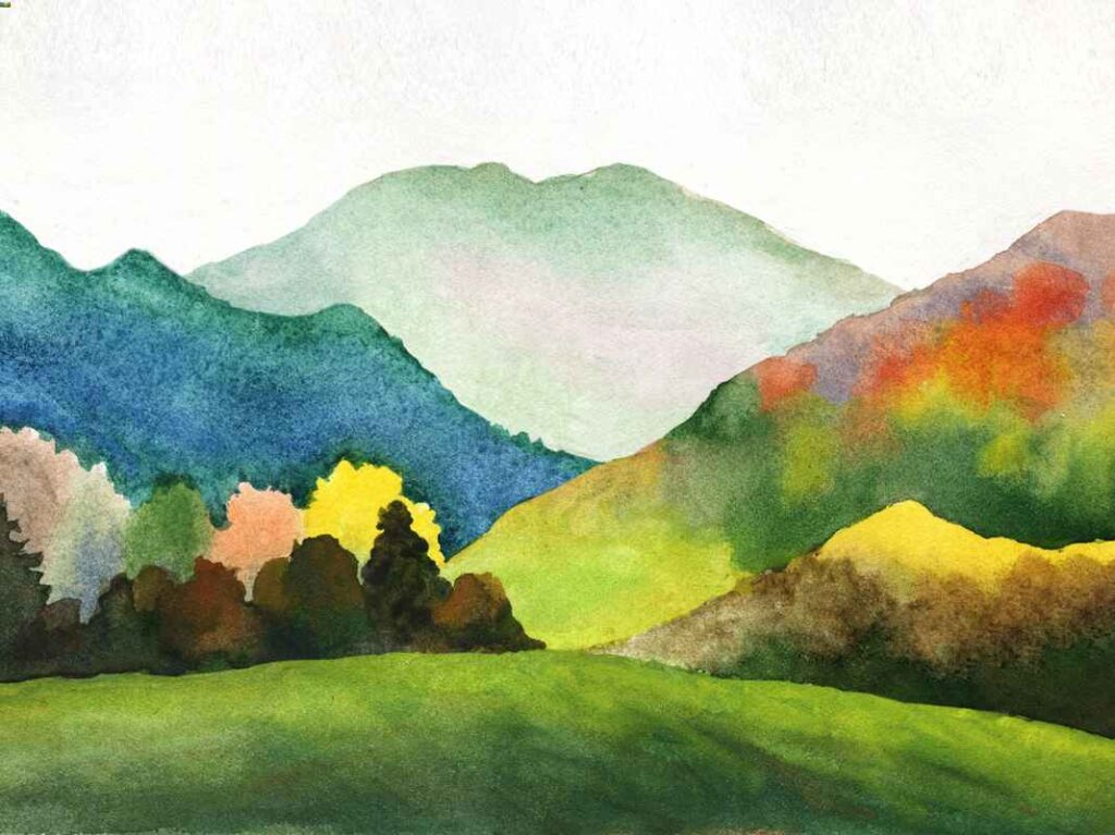 Watercolor painting of deep blue, pale grey-green and deep green and orange mountains against a green field.
