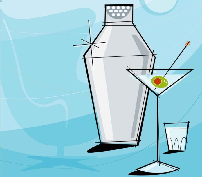Retro 1950s illustration of cocktail shaker, shot glass, and martini on mod blue background.