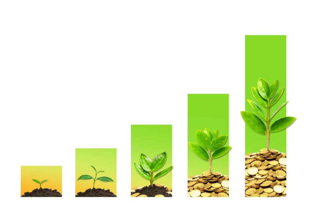 Illustration of plants in various stages growing out of piles of dirt and then coins. Increasingly tall background graph bars indicate growth.
