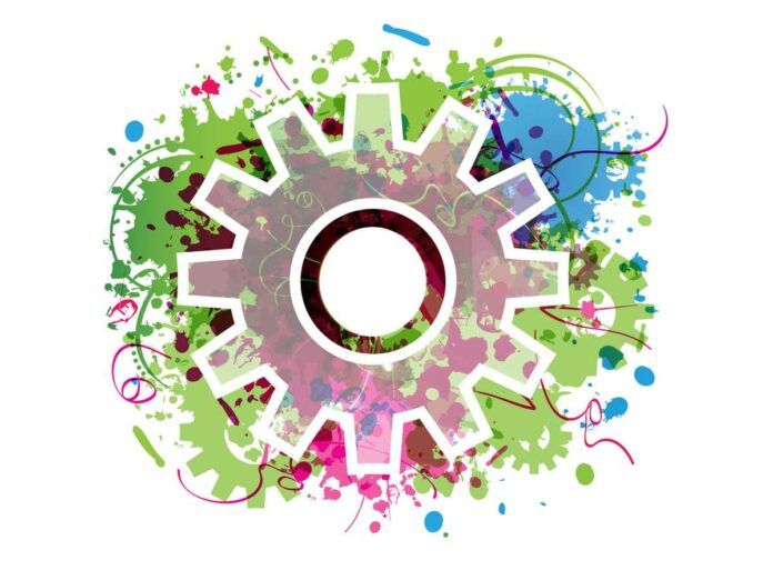Illustration of mechanical gear with green, blue and pink abstract background.