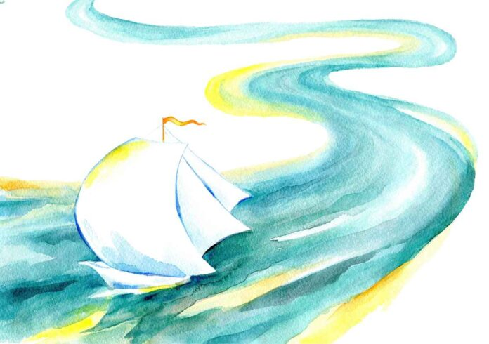 Watercolor painting of a ship with billowing white sails moving down a blue, green and yellow river.