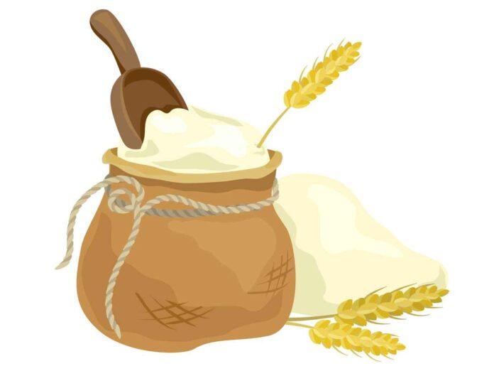 Illustration of brown bag filled with flour and scoop. Wheat stalks on the ground in front of bag.