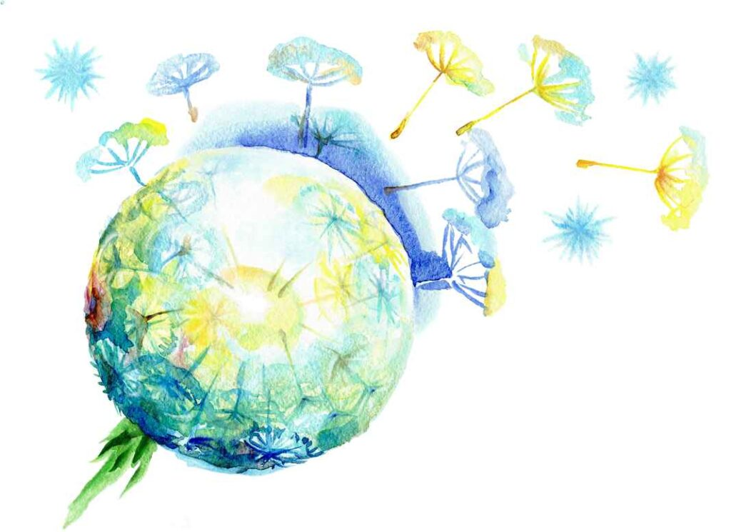 Watercolor paining of a yellow, turquoise and deep blue ball of dandelion fluff against a white background.