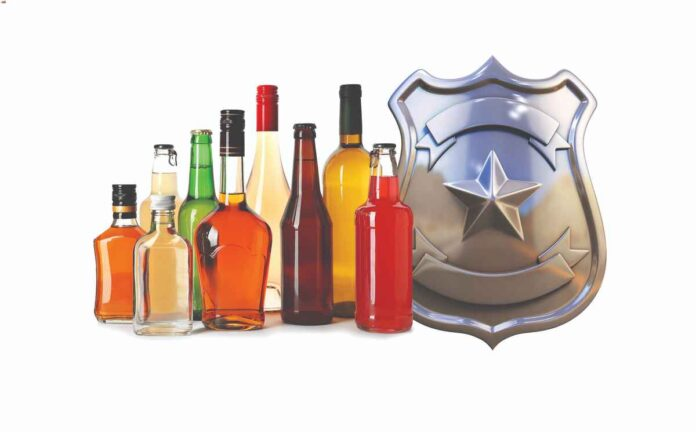 Illustration of a variety of liquor bottles in different colors, sizes and shapes filled with various liquids next to an image of a silver law enforcement badge