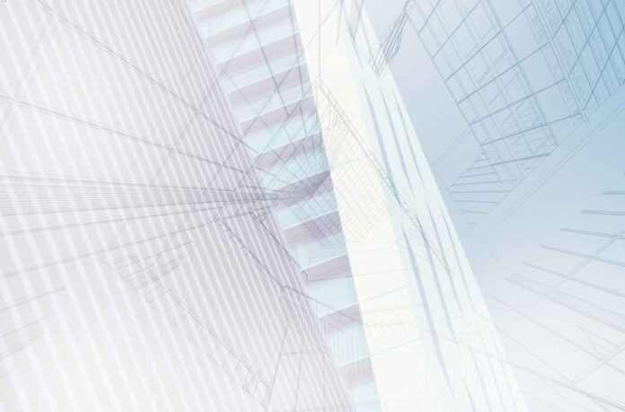 Abstract architectural style Illustration in light blue and gray that evokes blueprints or looking up and being surrounded by tall skyscrapers on all sides.