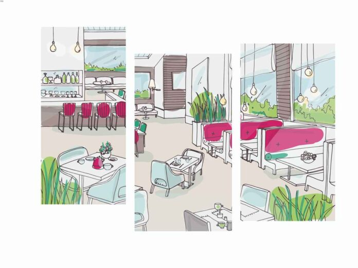 Triptych line illustration of a restaurant and bar dining room with pink bar seats and booths, green plants and gray accents.