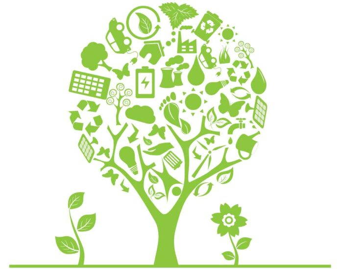 Illustration of green tree made out small illustrations of watering cans, light bulbs, batteries, and other ecologically-themed items against white background.