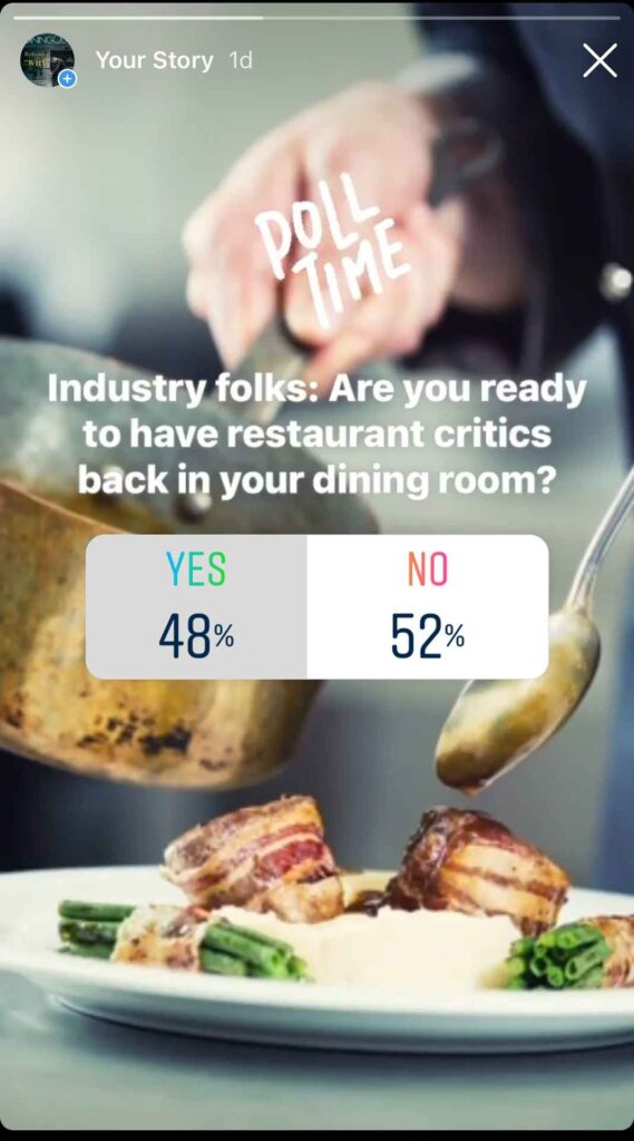 """Screenshot of Instagram poll reading """"Industry folks: Are you ready to have restaurant critics back in your dining room? Yes: 48%. No 52%."""""""