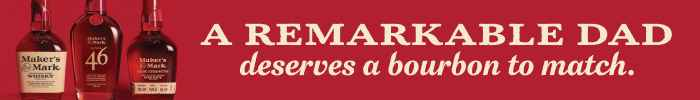"""Red banner ad for Maker's Mark reading, """"A remarkable dad deserves a bourbon to match."""""""